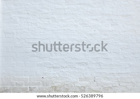 Old White Washed Brick Wall Abstract Horizontal Background Texture Or Studio Backdrop. Home Or Loft Design Element In Modern Vintage Style #526389796