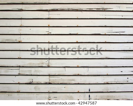 old white wood wall texture with horizontal orientation - stock photo