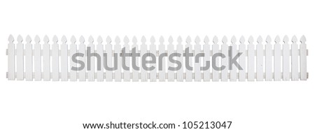 Old white wooden fence on white background #105213047