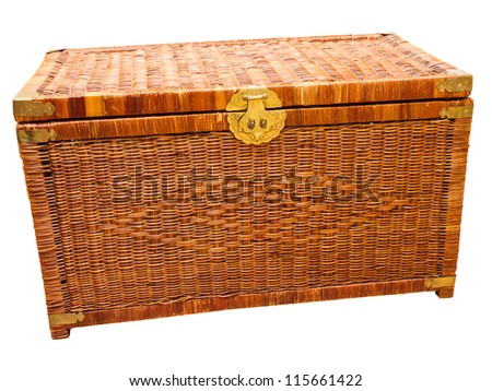 Old wicker basket isolated on white with clipping path