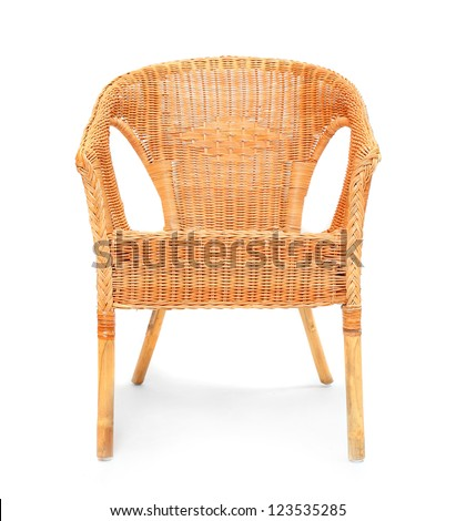 Elegant Old Wicker Chair On A White Background. #123535285