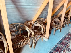 old wicker chairs close up