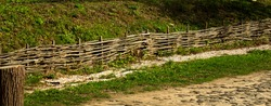 old wicker wooden fence fence