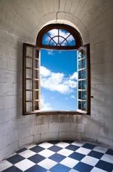 Old wide open window in castle.