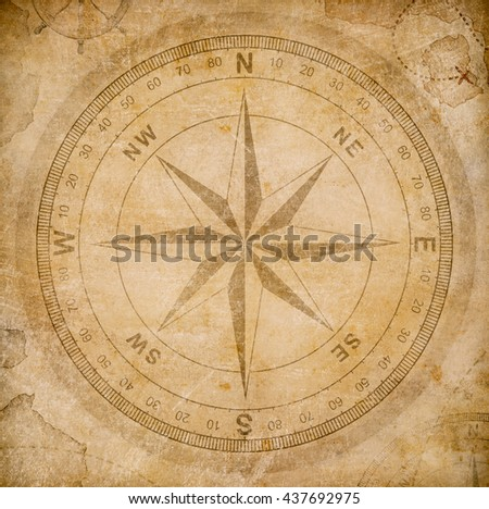 old wind or compass rose on...