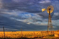 Old Windmill and the Evening Clouds