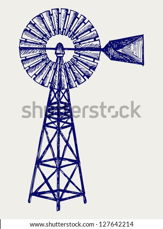 Old windmill. Doodle style. Raster version