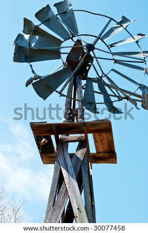 Old windmill formerly used to pump water for livestock.