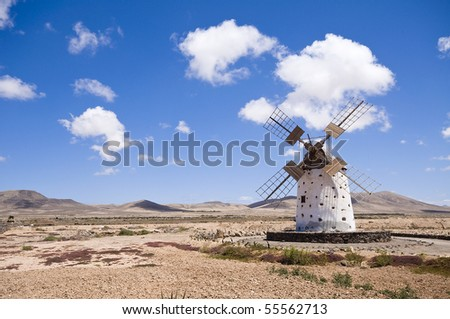 Old windmill on Fuerteventura, Canary Islands, Spain.