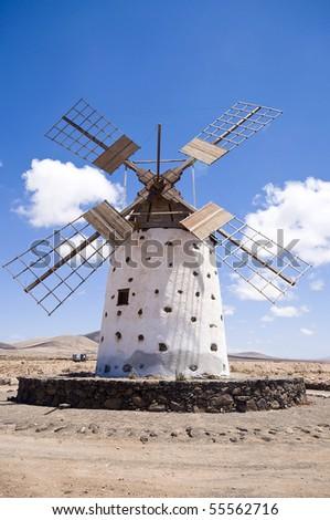 Old windmill on Fuerteventura, Canary Islands, Spain.