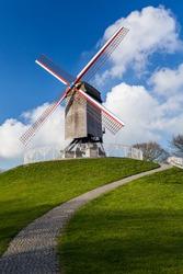 Old Windmill St. Janshuismolen in Bruges. Belgium.