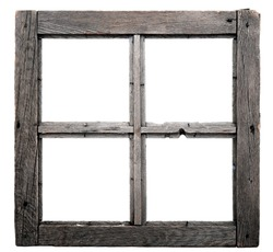 Old window frame isolated on white background.