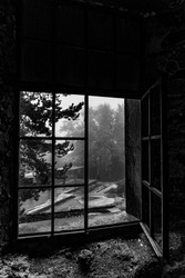 Old window in an abandoned Berengaria hotel. Troodos. (Cyprus)