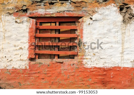 Old window of old cottage in Nepal