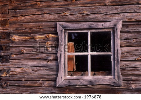Old window on a cottage.