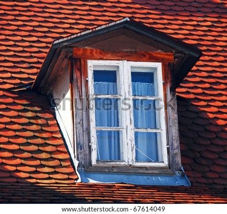 Old window on roof