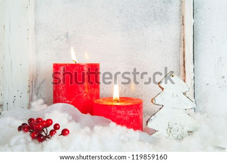 Old window with christmas decoration