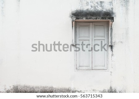 old window with wall background copy space
