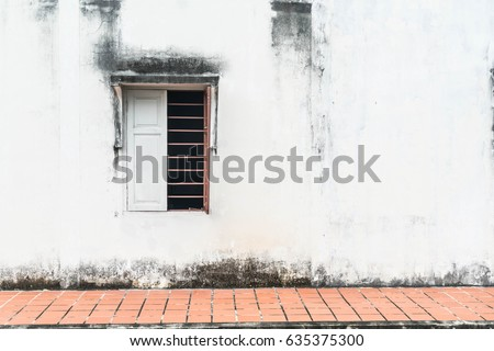 old window with wall background ...