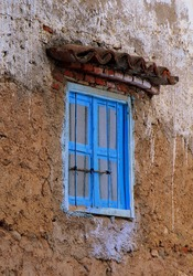 Old windowns from Chefchaouen, the blue city, Morocco