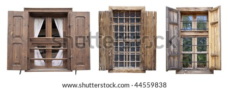 Old windows isolated on white