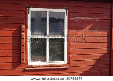 Old windows missing paint on cottages. Limfjord, Denmark, Scandinavia