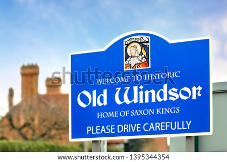 Old Windsor Blue sign on the Blue Sky #1395344354
