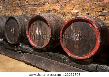 Old wine barrels in the rustic wine cellar