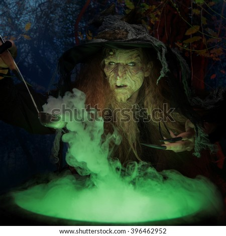 Old witch with magical potion #396462952