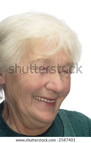Old woman laughing, isolated on white background