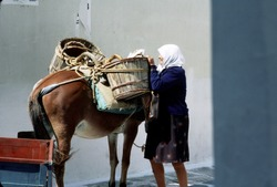 Old woman, Mykonos, Greece