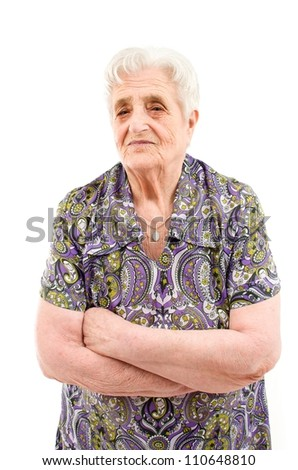 Old Woman on white background