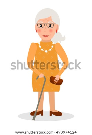 Old woman with glasses and cane in flat style. Elderly woman character with walking stick.