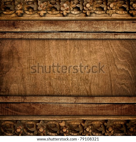 old wood background with carving