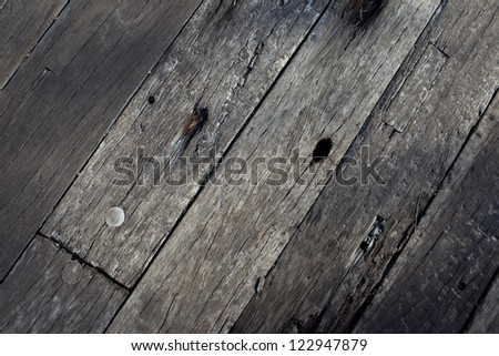 Old Wood Background with nail in black