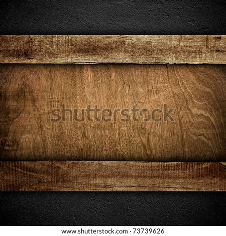 old wood board on wall background - stock photo