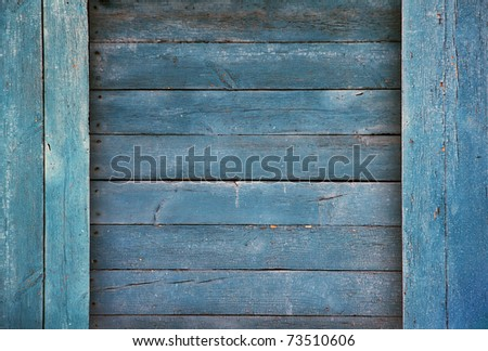 old wood boards, vintage blue background