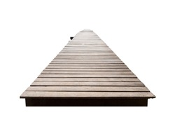 Old wood bridge brown isolated on the white background which has walk way for travel tourism for holiday destination for tourists. With clipping path.