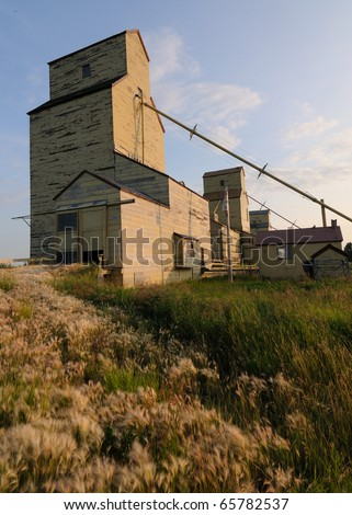 Old wood cribbed grain elevator  found in the Alberta, Canada prairies