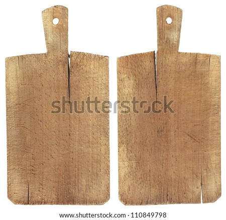 Old Wood Cutting Board Used chopping or cutting board isolated on withe