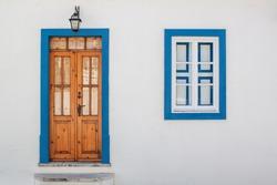 Old wood door with windows. Portugal Windows.