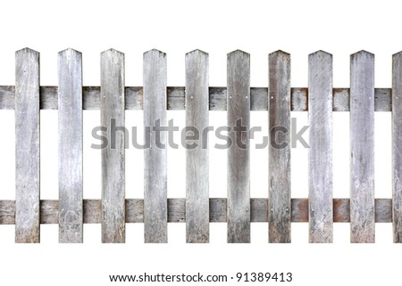 Old wood fence on white background, with clipping paths #91389413