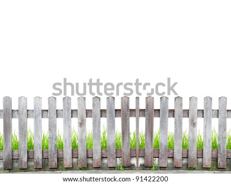 old wood fence with green grass on white background