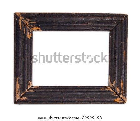 Old wood frame on white background