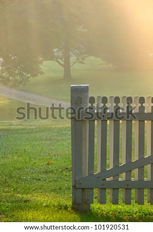 Old wood garden gate in a meadow in soft morning fog haze light