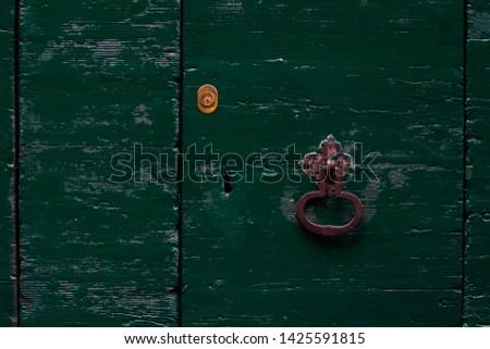 Old wood green door with lock and door knocker Сток-фото ©