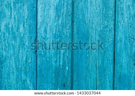 Old wood painted planks vertical cyan.