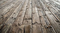 Old wood planks on the pier