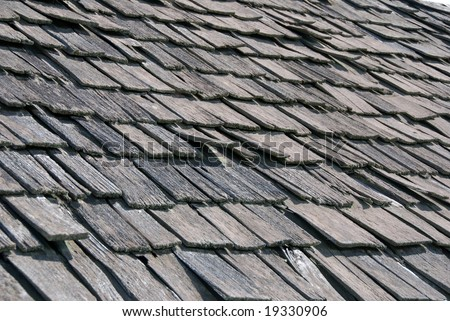Old wood shingle roof