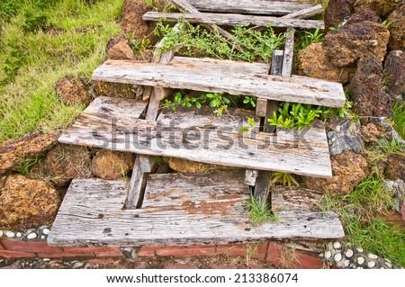 old wood stair